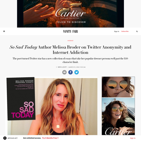 So Sad Today Author Melissa Broder on Twitter Anonymity and Internet Addiction