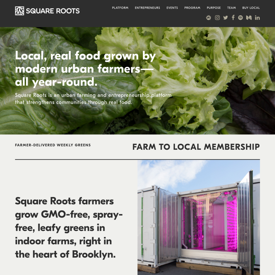 Square Roots is an urban farming and entrepreneurship platform-powered by community, technology, and a love for local, real food.