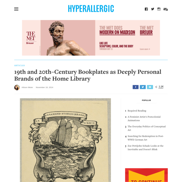 19th and 20th-Century Bookplates as Deeply Personal Brands of the Home Library