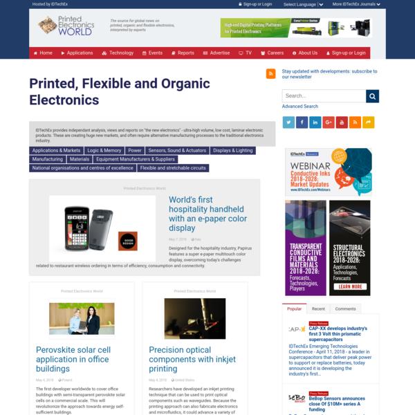 Printed, Flexible and Organic Electronics | Printed Electronics World