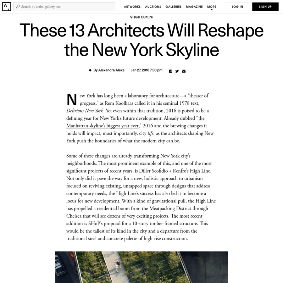 Nearby, the recent opening of Renzo Piano's new building for the Whitney Museum of American Art in May 2015 was the first in a wave of projects that will reshape New York's cultural sphere.