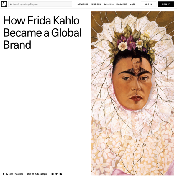 And it is this emphasis on the elements of her biography, and the artist's character, that has seared her into the public consciousness. But some scholars contend that what has become the popular narrative of Kahlo privileges her suffering and her romantic relationship over her politics, her artistic innovations, and her Mexicanness, a complaint that is sometimes leveled at Herrera's biography.
