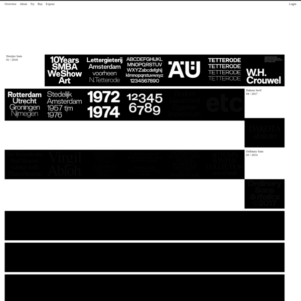 Catalogue of fonts by international designers.