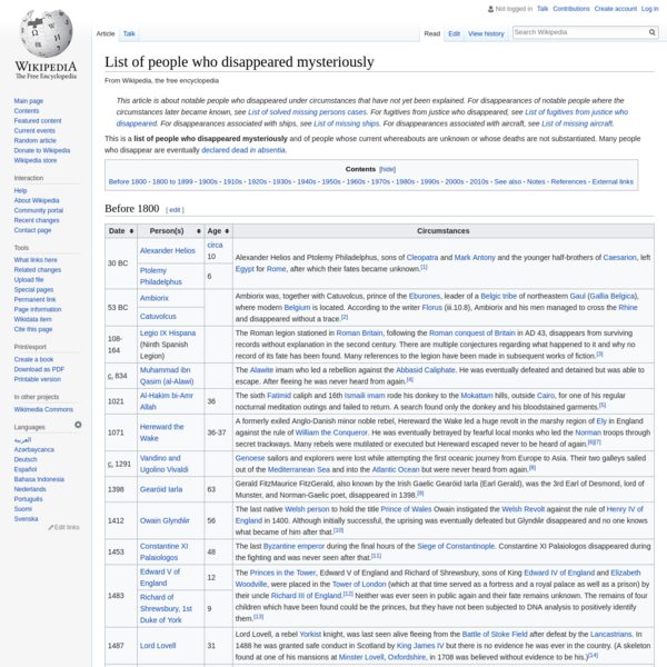 List of people who disappeared mysteriously - Wikipedia