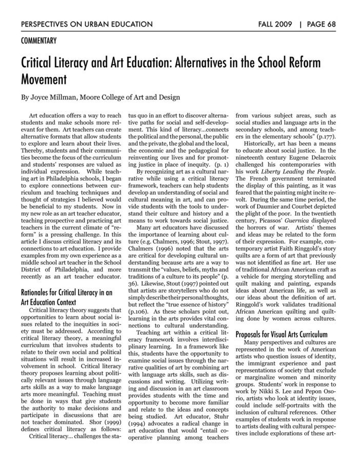 an analysis of the article critical literacy and art education alternatives in the school reform mov An analysis of the place of literacy in poverty reduction strategy papers in this paper, fernando salas rojas looks critically at alternative education, which was adopted exclusively in bolivia the author is the national coordinator of alternative education, bolivian education forum and national.
