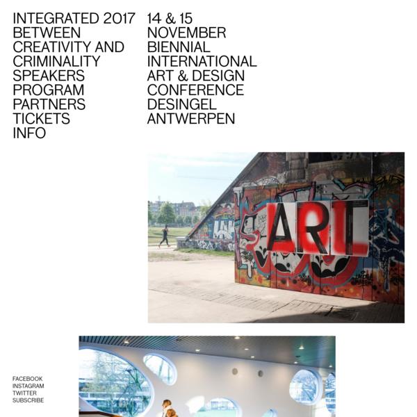 14 & 15 November biennial international art & design conference DeSingel Antwerpen