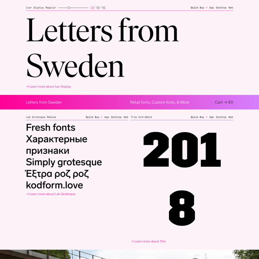 Letters from Sweden designs retail and custom typefaces for local and international clients alike. Our letters come from Sweden, but they are for everyone.