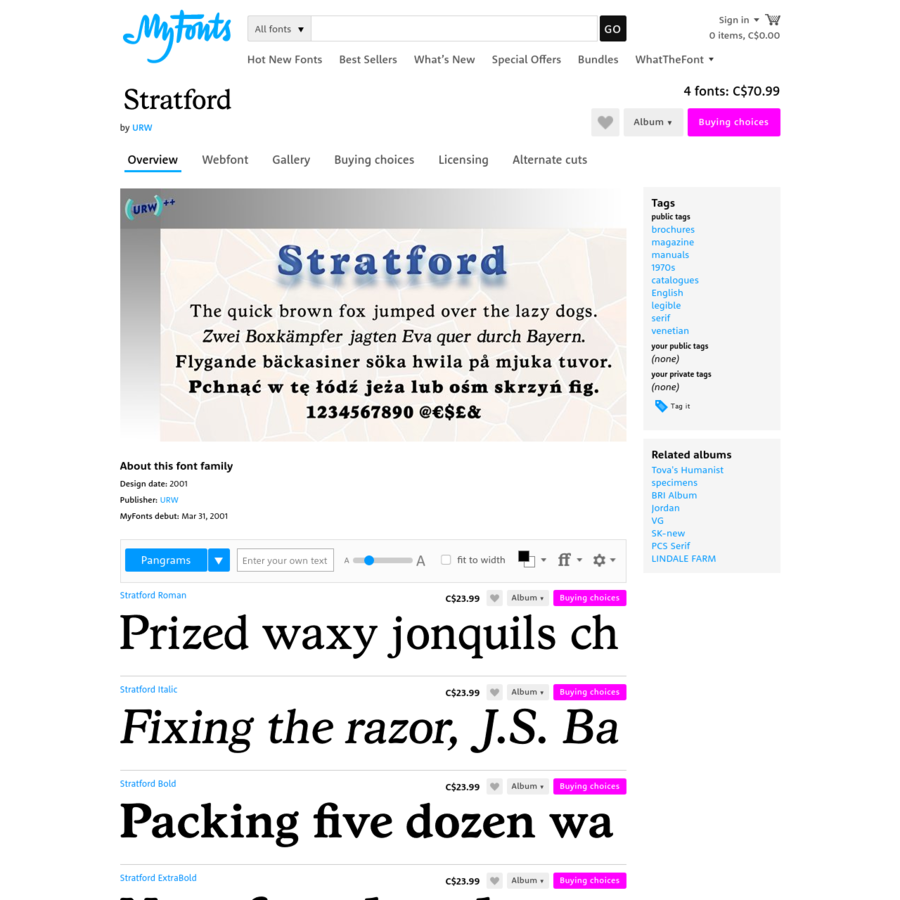 Stratford™ font family, 4 styles from $19.95 by URW