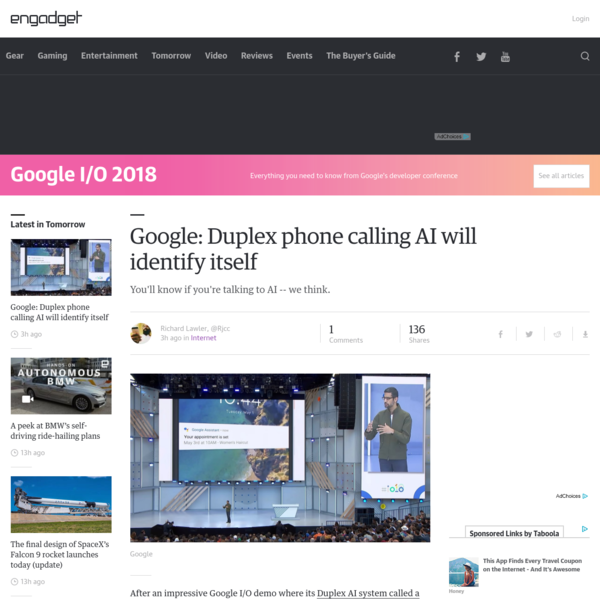 Google: Duplex phone calling AI will identify itself