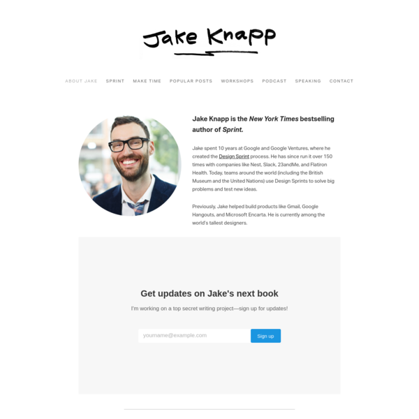 "Jake Knapp — author of the New York Times bestseller ""Sprint"""