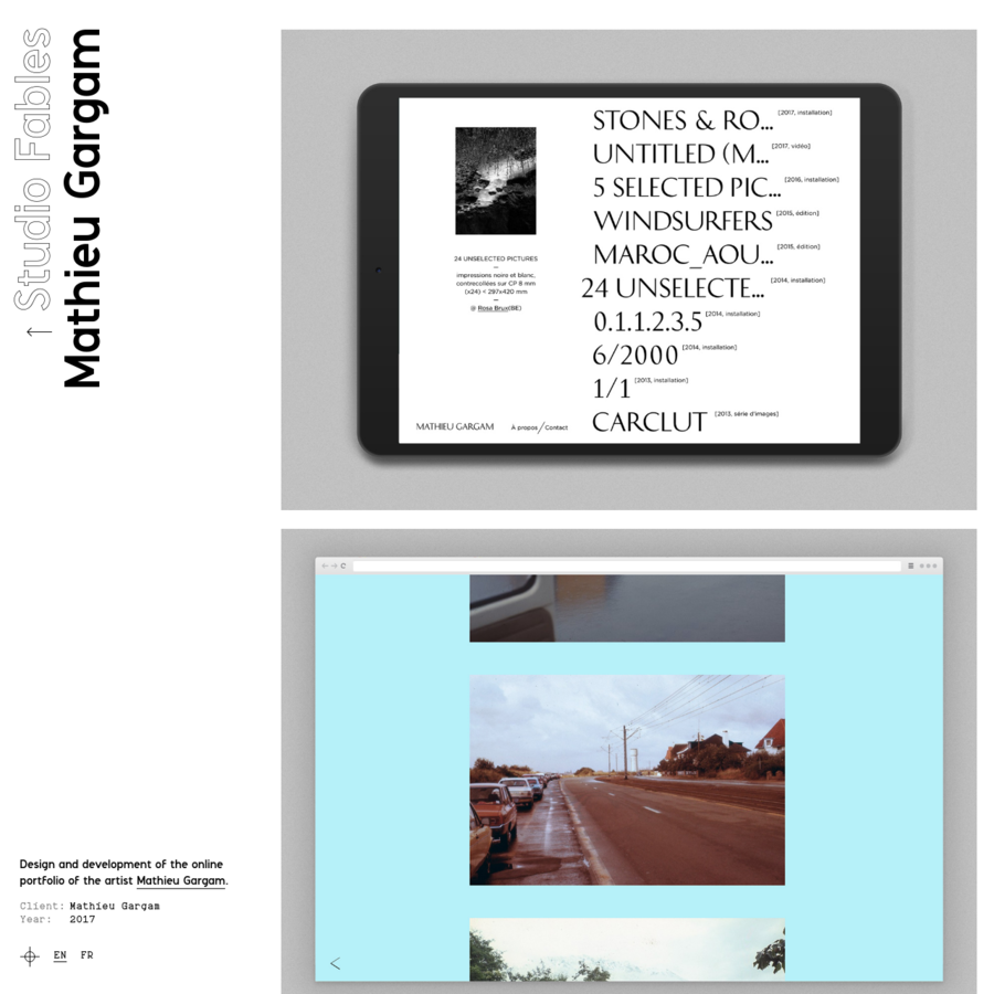 Design and development of the online portfolio of the artist Mathieu Gargam.