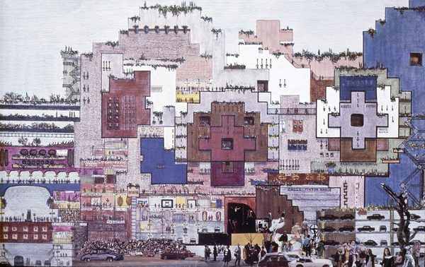 """In 1970, Spanish architect Ricardo Bofill and his Taller de Arquitectura worked on a huge housing complex called La Ciudad en el Espacio (The City in the Space) which could acquire the characteristic of a whole neighborhood and provide the basis for a reflexion on the idea of city.  Conceived to be """"complex and flexible"""" at the same time, the project embodies a dose of utopian thinking but grounds that in a realistic fashion, through the development of a plausible construction system, a light prefabricated system allowing for the further growth of the complex over time. The growth system, by which the city could adapt to a progressive increase of population, is based on cubic volumes which can be combined as modules through """"strict geometrical laws"""" obtaining an outcome which guarantees diversity. Streets, squares and arcades would be introduced on several, elevated levels, while the ground floor was occupied by services and parking spaces. The complex would have provided a mixture of functions on all levels and would be managed by a sort of collective Coop."""