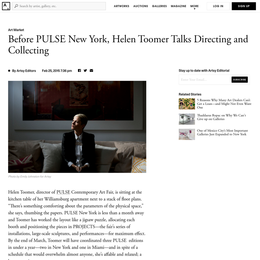 """Helen Toomer, director of PULSE Contemporary Art Fair, is sitting at the kitchen table of her Williamsburg apartment next to a stack of floor plans. """"There's something comforting about the parameters of the physical space,"""" she says, thumbing the papers."""
