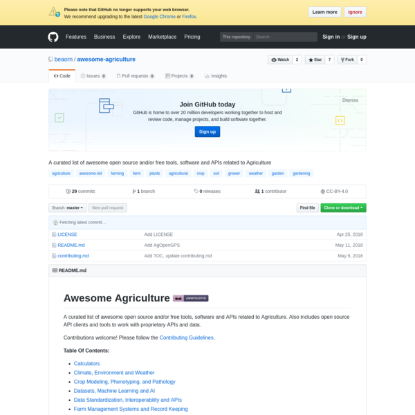 awesome-agriculture - A curated list of awesome open source and/or free tools, software and APIs related to Agriculture