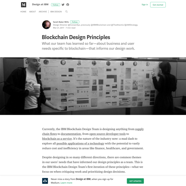 What our team has learned so far-about business and user needs specific to blockchain-that informs our design work. Currently, the IBM Blockchain Design Team is designing anything from supply chain flows to documentation, from open source developer tools to blockchain as a service.