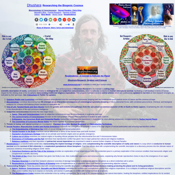 Dhushara Research is to maintain a cutting-edge scientific description of reality, particularly in relation to biological life and subjective consciousness, which is optimally conducive to human and natural survival, facilitating a 'soft-landing' in terms of human impact for the closing circle of the biosphere, transcending traditional religious imperatives.