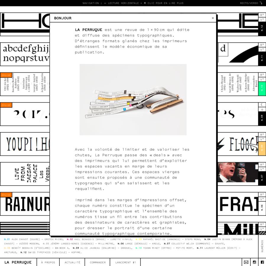 La Perruque est une revue qui édite des spécimens typographiques. D'étranges formats glanés chez les imprimeurs définissent le modèle économique de sa publication. L'ensemble des numéros tisse un fil entre les contributions de dessinateurs de caractères et graphistes.