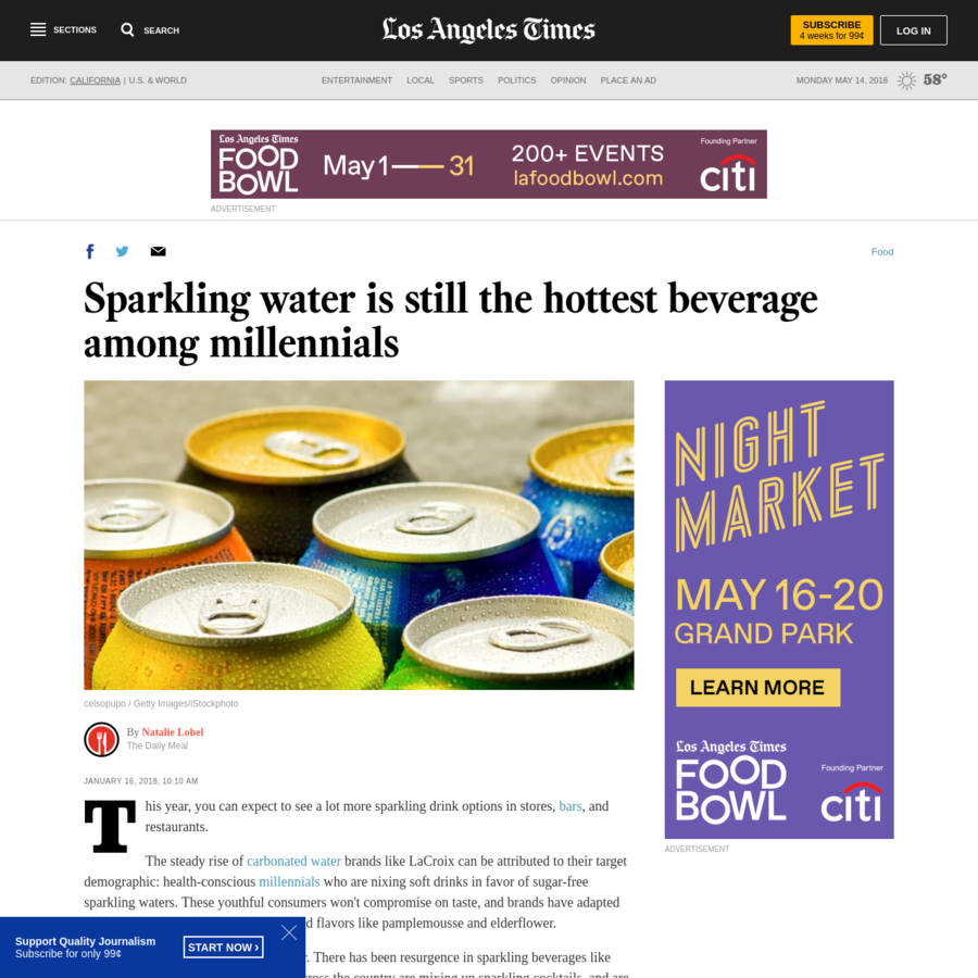 This year, you can expect to see a lot more sparkling drink options in stores, bars, and restaurants. The steady rise of carbonated water brands like LaCroix can be attributed to their target demographic: health-conscious millennials who are nixing soft drinks in favor of sugar-free sparkling waters.