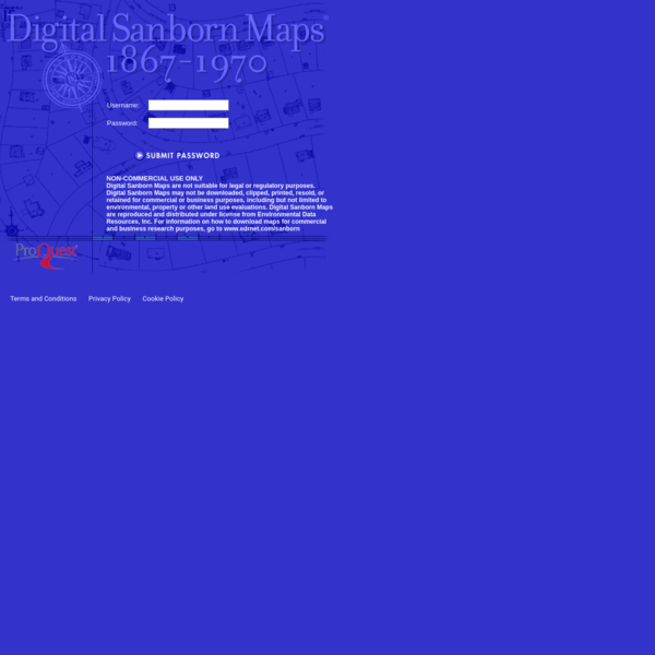 Digital Sanborn Maps are not suitable for legal or regulatory purposes. Digital Sanborn Maps may not be downloaded, clipped, printed, resold, or retained for commercial or business purposes, including but not limited to environmental, property or other land use evaluations. Digital Sanborn Maps are reproduced and distributed under license from Environmental Data Resources, Inc.