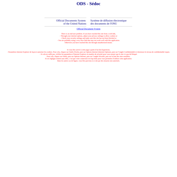 Multilingual interface of the UN Official Documents System