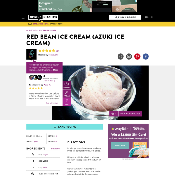 Red Bean Ice Cream Azuki Ice Cream) Recipe - Genius Kitchen