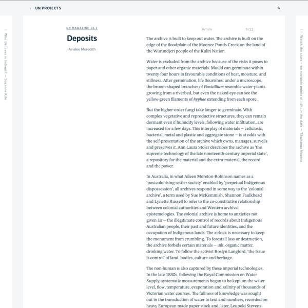 Deposits - un Magazine 12.1 - un Projects