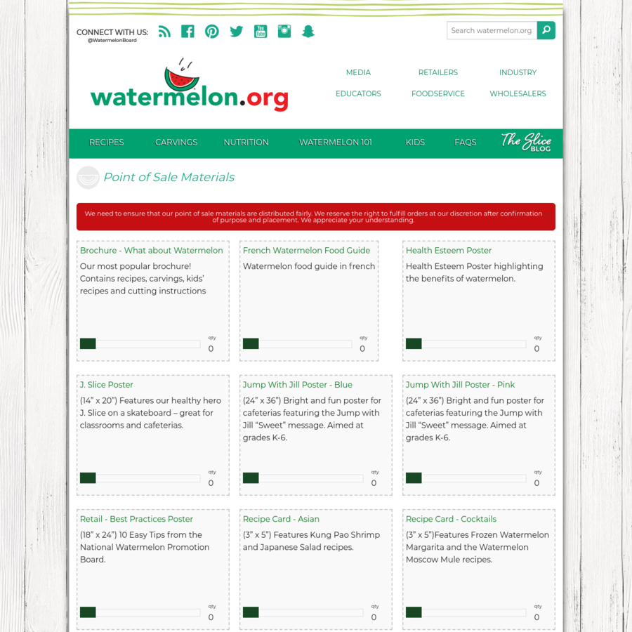 The Watermelon Board offers point of sale materials for retailers.