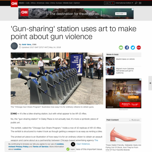 "No, the ""gun-sharing station"" in Daley Plaza is not actually real, it's more a symbolic piece of public art. The exhibit, called the ""Chicago Gun Share Program,"" holds a row of 10 replicas of AR-15 rifles. The exhibit is structured to make it look as though getting a weapon is as easy as renting a bike."