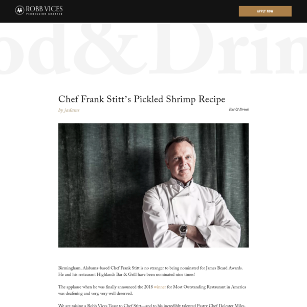 Birmingham, Alabama-based Chef Frank Stitt is no stranger to being nominated for James Beard Awards. He and his restaurant Highlands Bar & Grill have been nominated nine times! The applause when he was finally announced the 2018 winner for Most Outstanding Restaurant in America was deafening and very, very well deserved.