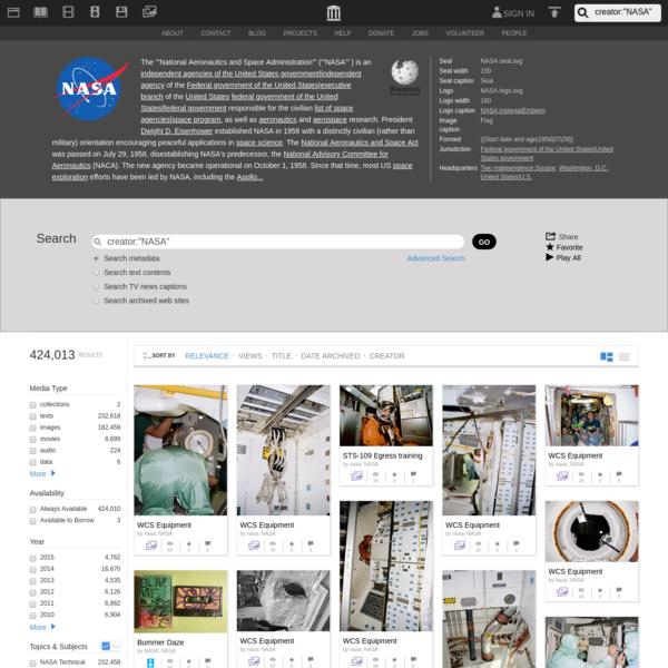 """Internet Archive Search: creator:""""NASA"""""""