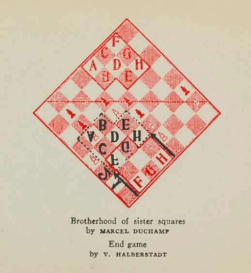 Detail from the brochure Duchamp designed for The Imagery of Chess exhibition