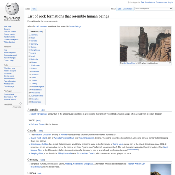 List of rock formations that resemble human beings - Wikipedia