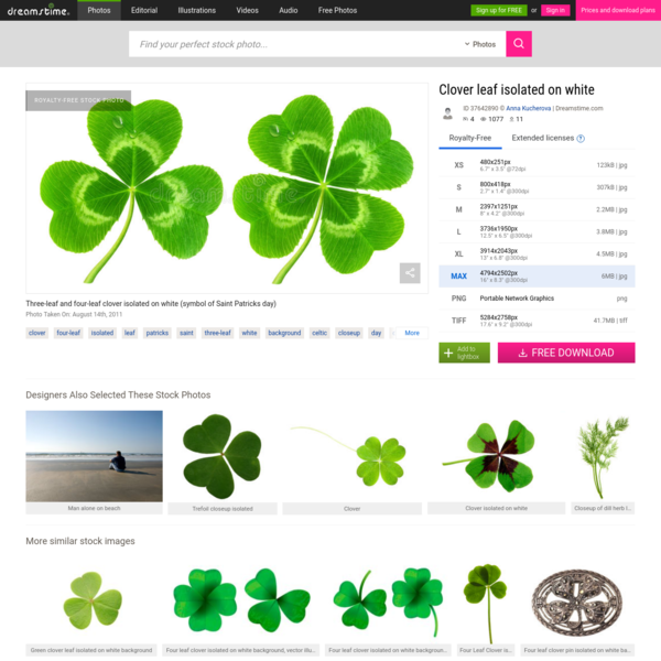 Photo about Three-leaf and four-leaf clover isolated on white (symbol of Saint Patricks day). Image of green, background, holiday - 37642890
