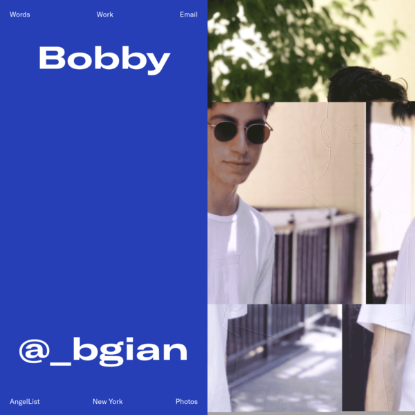 Bobby Giangeruso, Freelance Designer