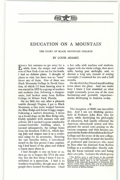 [see within for link to a better block] Education on a Mountain: The Story of Black Mountain College, by Louis Adamic (1936) [.pdf]