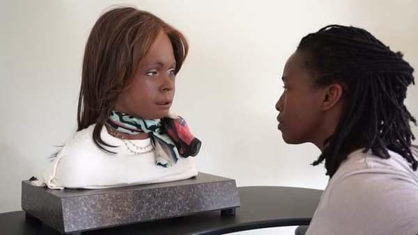 Stephanie Dinkins interviews Bina48. Excerpt Bina48 on experienced racism. Work in Progress, 2014