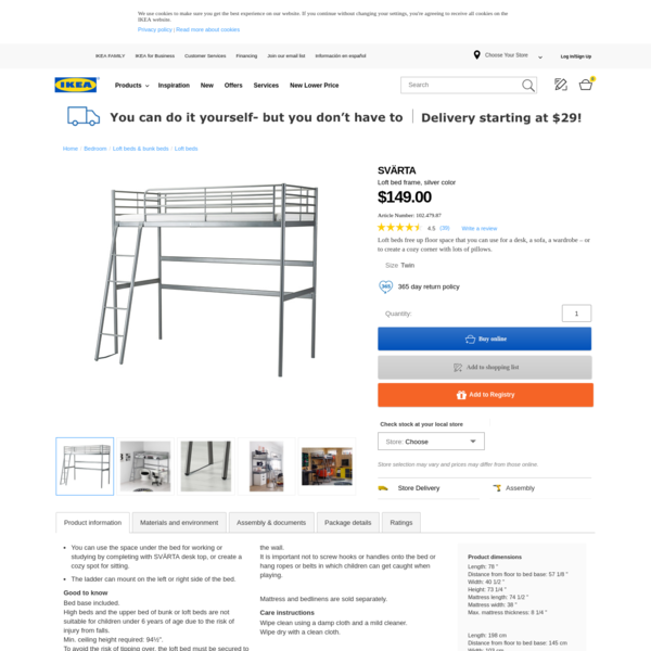 IKEA - SVÄRTA, Loft bed frame, , You can use the space under the bed for working or studying by completing with SVÄRTA desk top, or create a cozy spot for sitting.The ladder can mount on the left or right side of the bed.