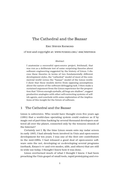 The Cathedral and the Bazaar by Eric Steven Raymond