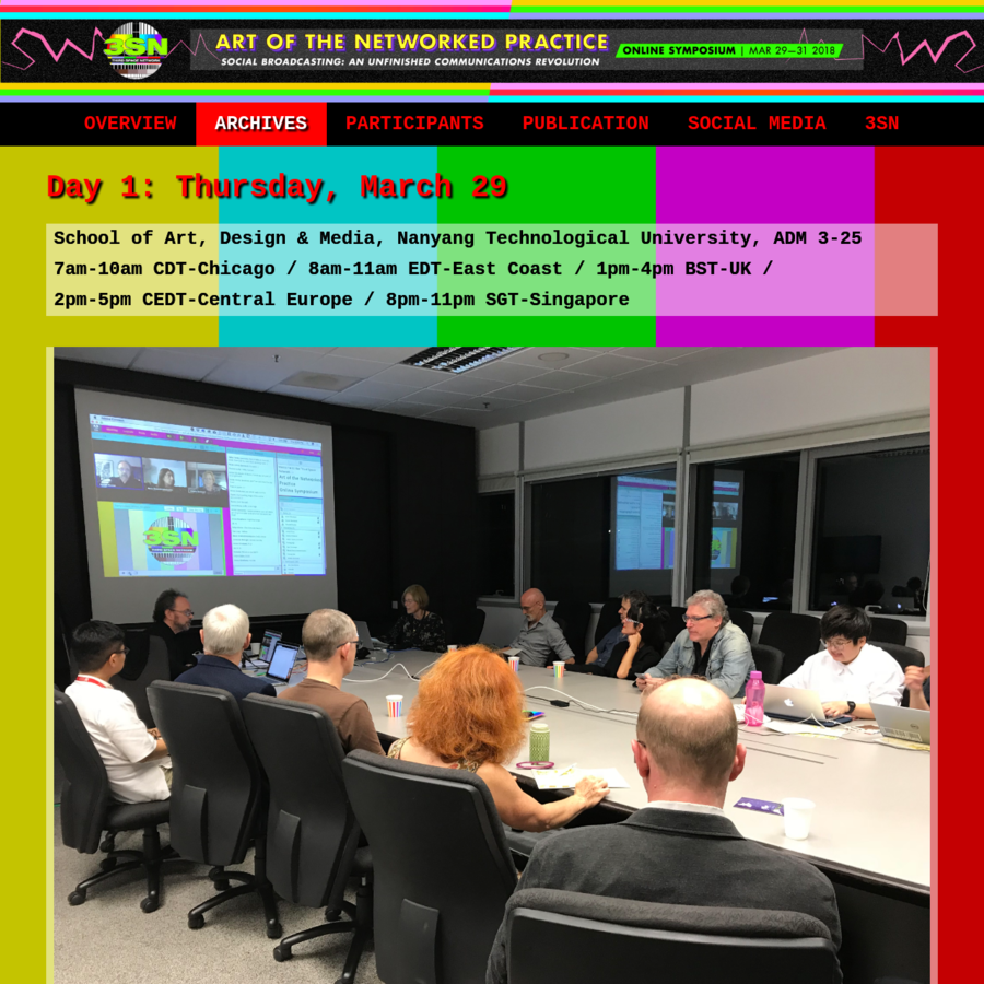 "Day 1: Thursday, March 29 School of Art, Design & Media, Nanyang Technological University, ADM 3-25 7am-10am CDT-Chicago / 8am-11am EDT-East Coast / 1pm-4pm BST-UK / 2pm-5pm CEDT-Central Europe / 8pm-11pm SGT-Singapore Being & Connectedness in Telematic Space Since the 1990s, the Web has sparked live, Internet performance genres including: ""desktop theater,"" ""webcam art,"" and ..."