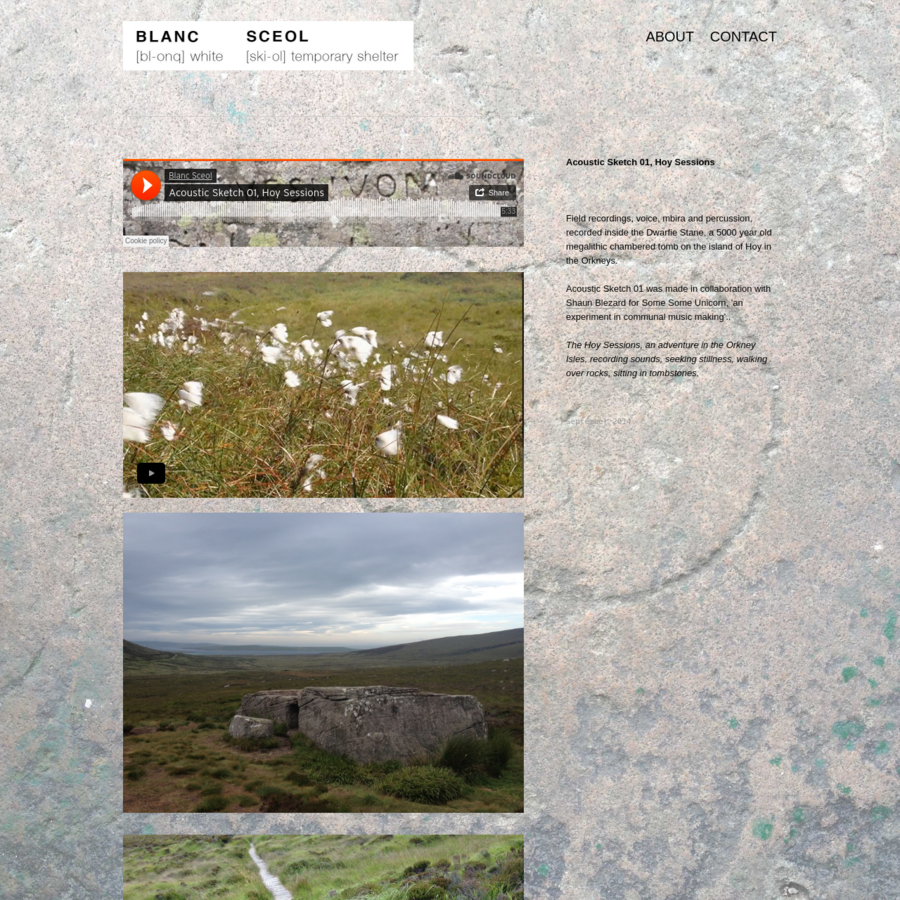 Field recordings, voice, mbira and percussion, recorded inside the Dwarfie Stane, a 5000 year old megalithic chambered tomb on the island of Hoy in the Orkneys. Acoustic Sketch 01 was made in collaboration with Shaun Blezard for Some Some...