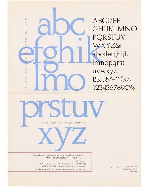Augustea (typeface by Aldo Novarese for Nebiolo), 1966. via the Letterform Archive twitter https://twitter.com/Lett_Arc/status/996842956911935488