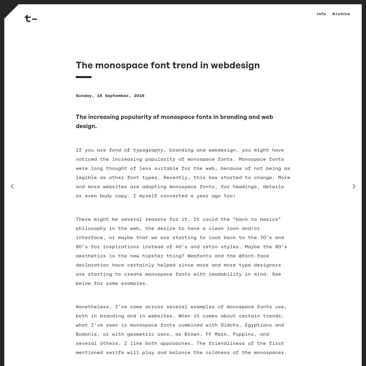 Are na / The monospace font trend in webdesign - t y p e c o d e