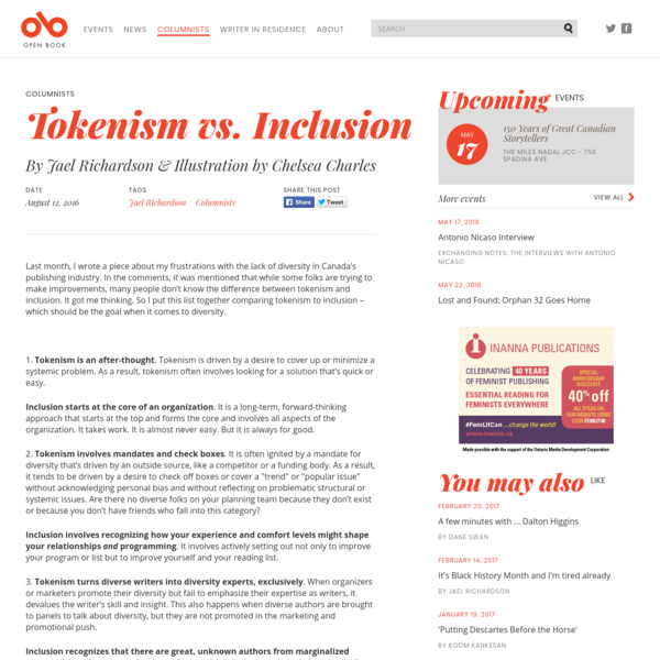 """Tokenism is driven by a desire to cover up or minimize a systemic problem. As a result, tokenism often involves looking for a solution that's quick or easy.""  Jael Richardson"