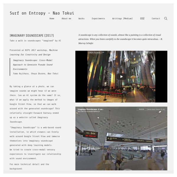 Imaginary Soundscape: Cross-Modal Approach to Generate Pseudo Sound Environments Yuma Kajihara, Shoya Dozono, Nao Tokui By taking a glance at a photo, we can imagine sounds we might hear if we were there. Can an AI system do the same?