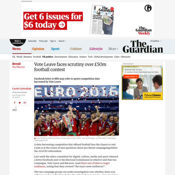 Vote Leave faces scrutiny over £50m football contest