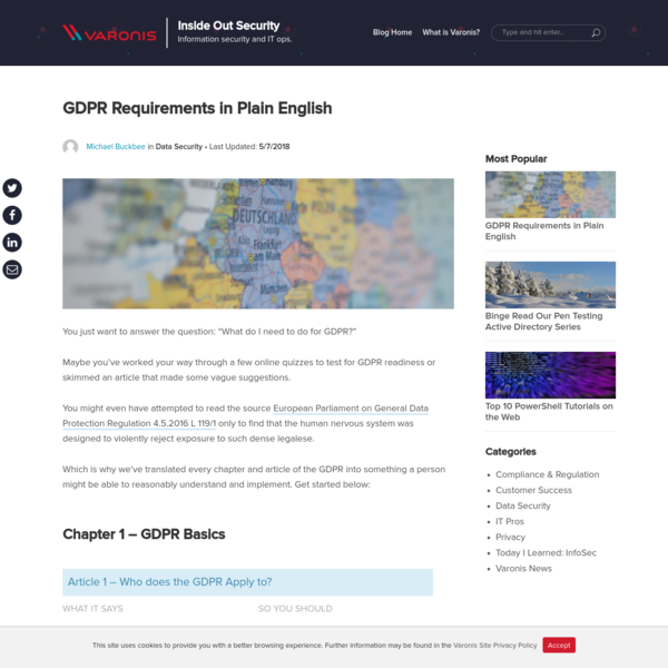 GDPR Requirements in Plain English