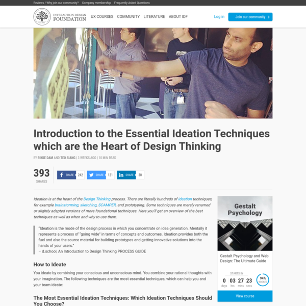 Ideation is at the heart of the Design Thinking process. There are literally hundreds of ideation techniques, for example brainstorming, sketching, SCAMPER, and prototyping. Some techniques are merely renamed or slightly adapted versions of more foundational techniques. Here you'll get an overview o...
