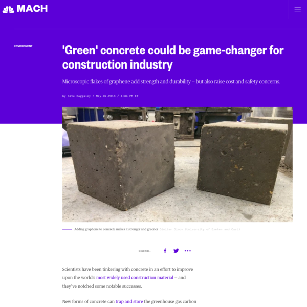 Scientists have been tinkering with concrete in an effort to improve upon the world's most widely used construction material - and they've notched some notable successes. New forms of concrete can trap and store the greenhouse gas carbon dioxide, break down pollutants from exhaust fumes, and help protect aging infrastructure by sealing cracks as they form.