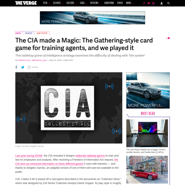 Last year during SXSW, the CIA revealed that it designs elaborate tabletop games to train and test its employees and analysts. After receiving a Freedom of Information Act request, the CIA sent out censored information on three different games it uses with trainees - and thanks to Diegetic Games, an adapted version of one of them will soon be available to the public.