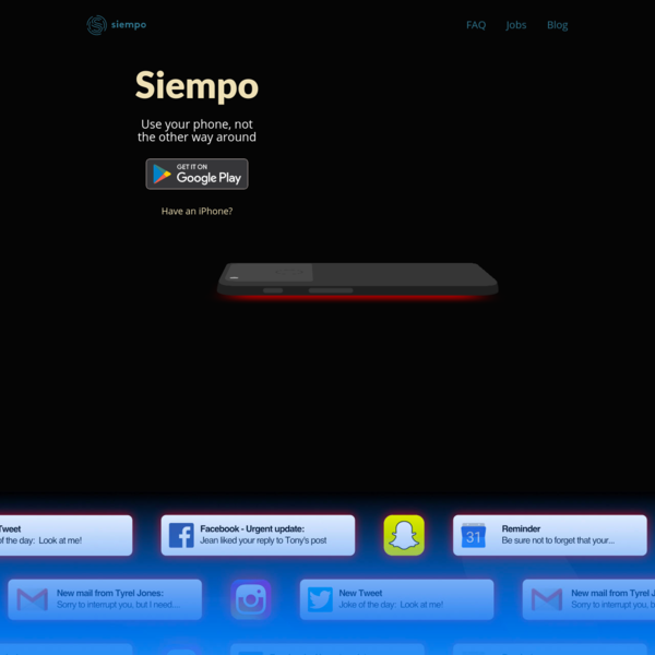 The Siempo Home App transforms any Android phone into a more intentional experience. Calm your home screen, create distance between distracting apps, and batch notifications in order to prevent unconscious use and live a life of deeper focus, presence and human connection.